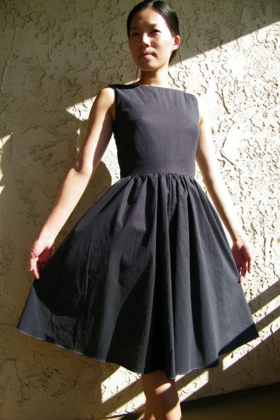 Black handmade office dress