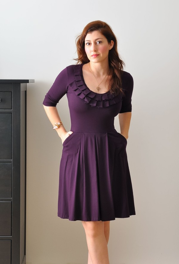 Purple handmade work dress