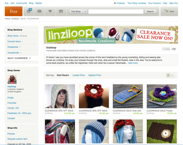 Linziloop Etsy shop screenshot