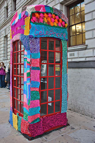 Guerilla knitting telephone UK