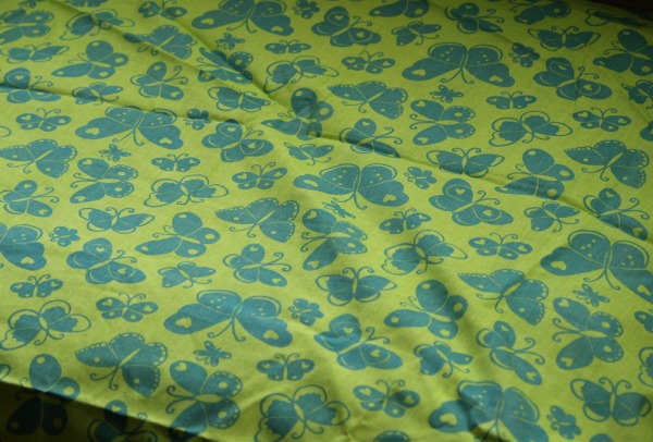 Green blue butterfly fabric