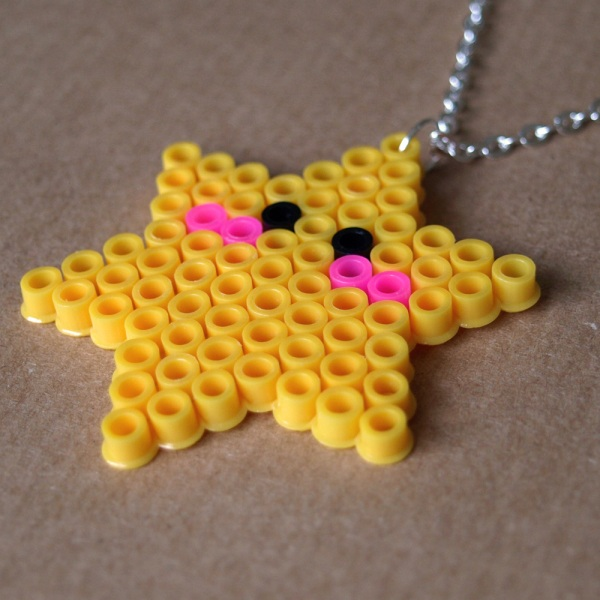 Cute Kawaii Star Pixel Hama Bead Necklace
