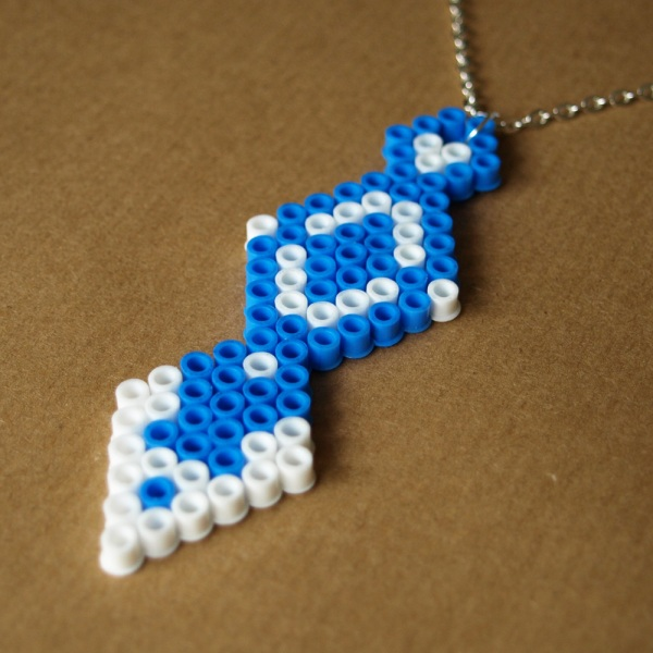 Fantasy Ice Spear Blue White Hama Bead Necklace